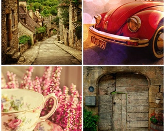 Sweet Summer - Set of Four Photographs, Travel Wall Art, France, Romantic, Rustic, Vintage Teacup, Home Decor, VW Bug, 5x5 or 8x8, SAVE 30%