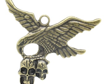 Bronze Eagle Charms  with Skulls - Antique Bronze - Halloween - LARGE -  70x57mm - 2pcs - Ships IMMEDIATELY from California - BC626