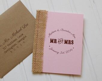Rustic Booklet Invitations: Unique Handmade Burlap Wedding Invites. Rustic Wedding. Shabby Chic Wedding. Custom.