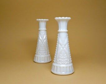 Vintage Vases White Milk Glass Vase Pair Small