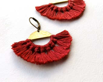 """Deep Red Tassels With Vintage Hammered Brass Disks, """"Red Rising"""" Medium Women's Statement Earrings"""