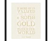 Printable Art - JRR Tolkien Hoarded Gold Archival Print 8x10