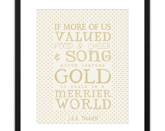 Printable Art - JRR Tolkien Hoarded Gold Archival Print 8x10