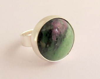 Gemstone Ring/ Silver Ring with Ruby and Zoisite Stone/ Handmade/ Size 7.25