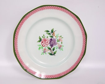 Vintage Adams Calyx Ware Plate Mandalay Pattern English Ironstone Made in England Hand Painted 8 Inches