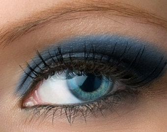 "Matte Dark Blue Eyeshadow - ""Nightshade"" - Deep Navy Blue Vegan Mineral Eyeshadow Net Wt 2g Large Natural Eye Shadow Pigment"