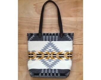 Wool Tote - Leather Canvas Arrow Native Geometric Tribal