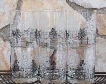 Vintage Morgan Black and White Tree Rocks Bar Glasses