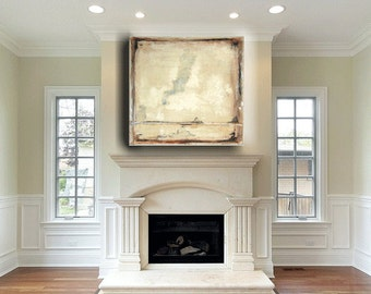 Abstract Painting Custom original abstract painting, abstract art, large cream, brown, silver, neutral 36 x 36 by Cheryl Wasilow