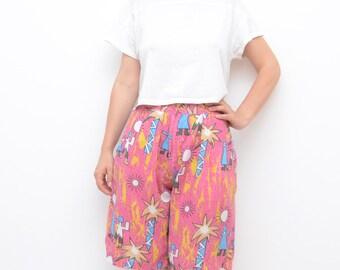 Vintage pink high waist hipster women summer shorts