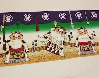Japanese Tenugui cotton fabric  sumo wrestler Neko fortune Cats, japanese cotton fabric, japanese tenugui, kawaii fabric