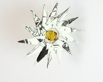 Paper Origami Star Ornament - Book Paper Sculpture - Black and White Art - Jane Austen Pride and Prejudice Geometric Art - Paper Decoration