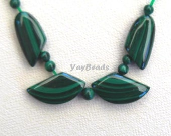 Malachite Focal Beads Leaf Set 11 pieces