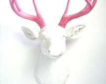 WHITE-LITE PINK Faux Taxidermy Deer Head Wall Mount Wall Hanging Wall Decor Home Decor in white and light pink:  Deerman the Deer Head