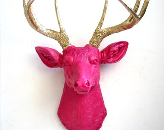 HOT PINK with Gold Antlers Faux Taxidermy Deer Head  Animal Head wall hanging wall mount home decor // modern // woodland/ office // nursery