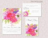 Printable Watercolor Save the Date - Peonies, Roses & Buttercups