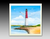 Barnegat Red and White Lighthouse Ceramic tile with hook or Coaster
