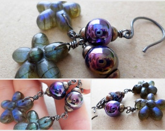 Artisan Lampwork Glass & Labradorite Flower Earrings Jewelry, Rustic Bohemian Boho Hippie Chic Earrings Jewelry, Metallic Purple Earrings
