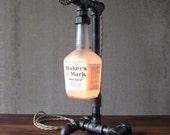 Maker's Mark Lamp - Industrial Lighting - Iron Pipe Lighting - Bourbon Gift
