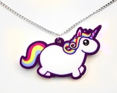 Chubby Unicorn Necklace, Rainbow Fat Pony Pendant, Colorful Funny Mythical Creature, Kawaii Cute Uni