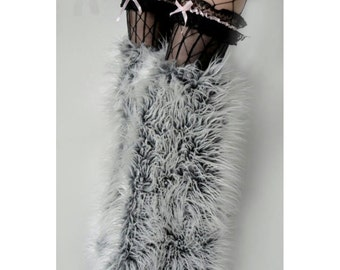 MADE TO ORDER Thigh high fluffies Above the knee gogo boot covers fluffy legwarmers rave anime