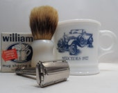 1958 Gillette, Super Speed Flare Tip Double Edge, Safety Razor, Surrey 1927 Mercedes Milk Glass, Brush and Williams Mug Shaving Soap 4pc Set