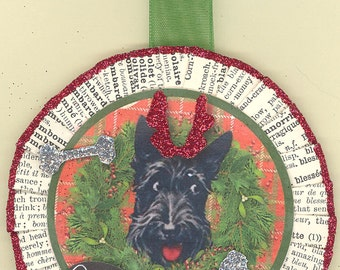 Scottish Terrier | Scotty Dog | Christmas Ornament | Vintage style