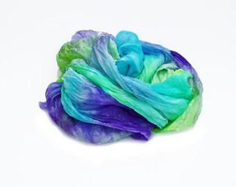 purple silk scarf  - First Look  -  turquoise, purple, green, lime green scarf.