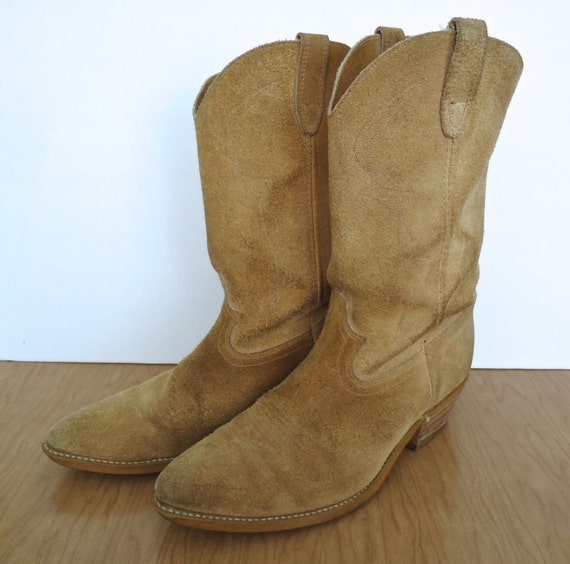 Vintage Suede Western Boots / tan leather cowboy by CompanyMan