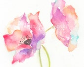 Fine art watercolor painting, flower art, POPPY WATERCOLOR PRINT, giclee print, flower interest
