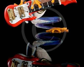 Electric Guitar, Frog - Fender Guitar Art - Real Frog