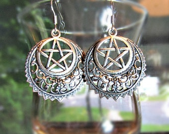Silver Pentacle Earrings, Filigree Crescent, Pagan, Wiccan