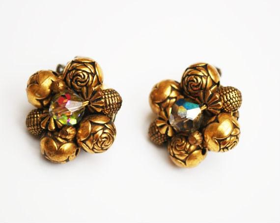 Brass Bead cluster earrings - Aurora Borealis crystal bead - Clip on earring