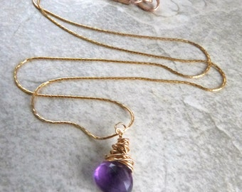 Amethyst Briolette Pendant Necklace, Gold Wire-Wrapped Gemstone, Handmade