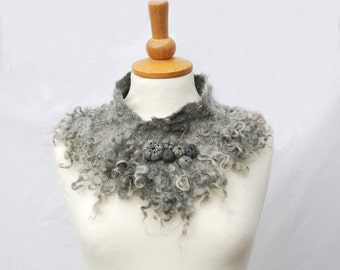 Felted collar felt necklace felted wool scarf grey gray white silver felted art  felt jewelry gift Made to Order