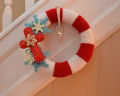 Knit Wreath - CANDY CANE - CHRISTMAS 12 inch knit Yarn Wreath with cross and snowflake felt accents