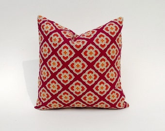 Eastern Inspired Fuscia Pillow Cover, Pink, Gold, Soft-Green Many Sizes Square & Lumbar 12 x 18, 18 x 18, 22 x 22