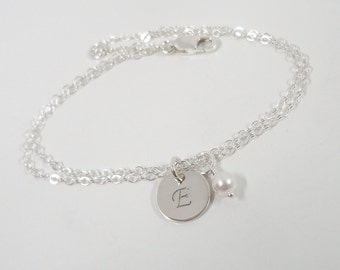 Sterling Silver Initial Bracelet - Hand Stamped Jewelry - Mommy Jewelry - Birthstone Jewelry - Personalized Bracelet