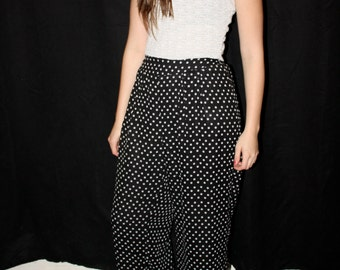 90s High Waisted Wide Leg Sheer Polka Dot Pants