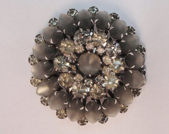 Treasury Item! Vintage Judy Lee rhinestone brooch pin 50 Shades of Grey costume jewelry bridal wedding Astronaut Wives Mad Men
