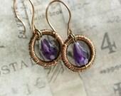 Amethyst Dangle Earrings, Wire Wrapped Jewelry Handmade, Purple Earrings, Gemstone Jewelry Amethyst