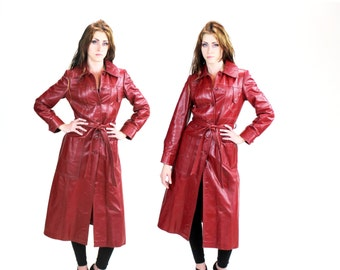 1970s Rust Leather Maxi Coat W Decorative Pockets