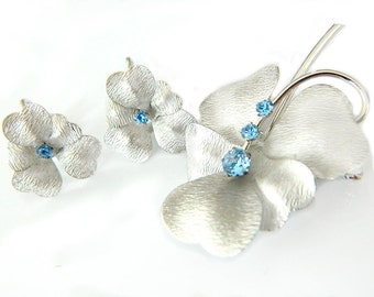 Sterling Silver Set Brooch And Earrings Silver Blue Flower Retro  Modern Carl Art Rhinestone Collectible Jewelry