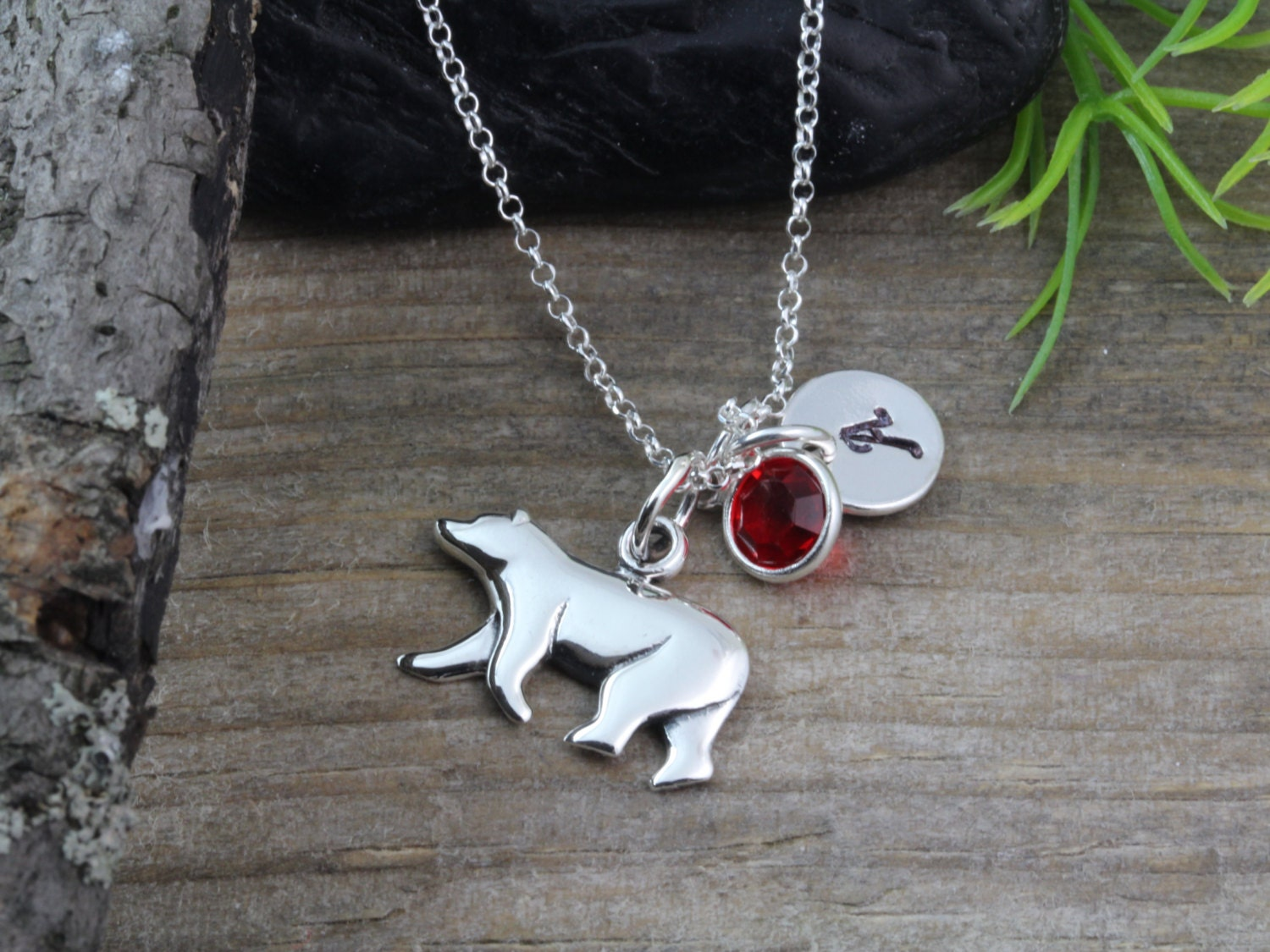 Sterling silver Bear Necklace Polar Bear Pendant Personalized