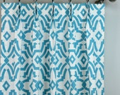 Coastal Light Aqua Blue White Chevelle Quatrefoil Moroccan Curtains - Pinch Pleat - 84 96 108 120 Long - Optional Blackout or Cotton Lining