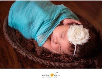Simple Cream Headband. Ivory Shabby Headband. Infant Headband. Baptism. Christening.  Wear Home Headband