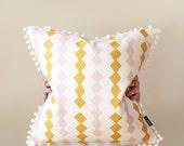 Zig Zag Warm Throw Cushion with White Pom Pom Trim