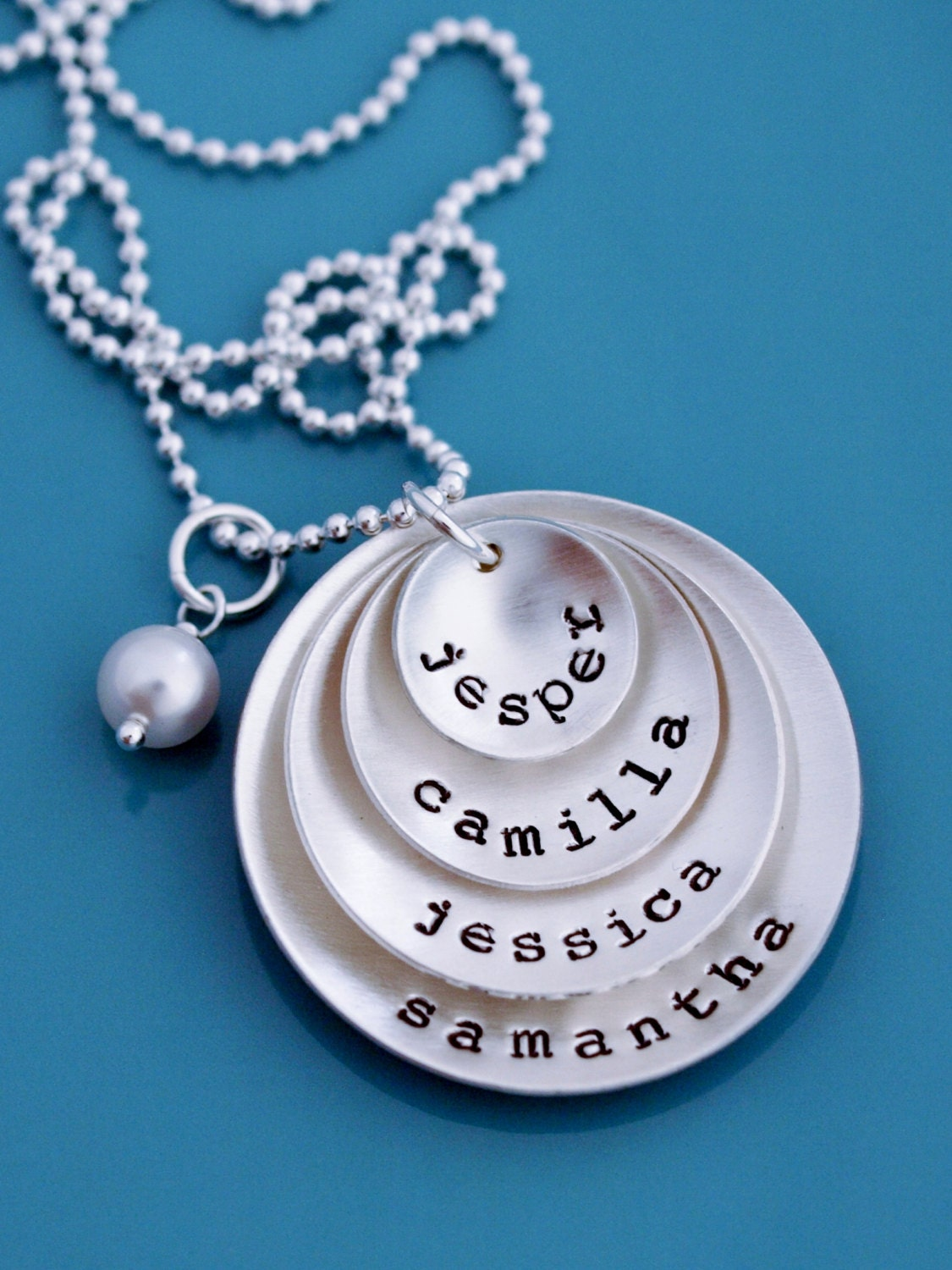 Layered disc mother necklace hand stamped mom gift sterling for How do you make hand stamped jewelry