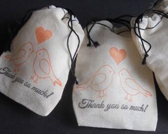 Bridal Shower Favor Bags, Lovebirds Cotton Favor Bags, Wedding, Bridal Shower, Gift Bags, Wedding Favors, Party Favors - Set of 25