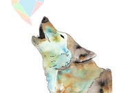 Howling Wolf Watercolour art print blue with pastel geometric heart love song